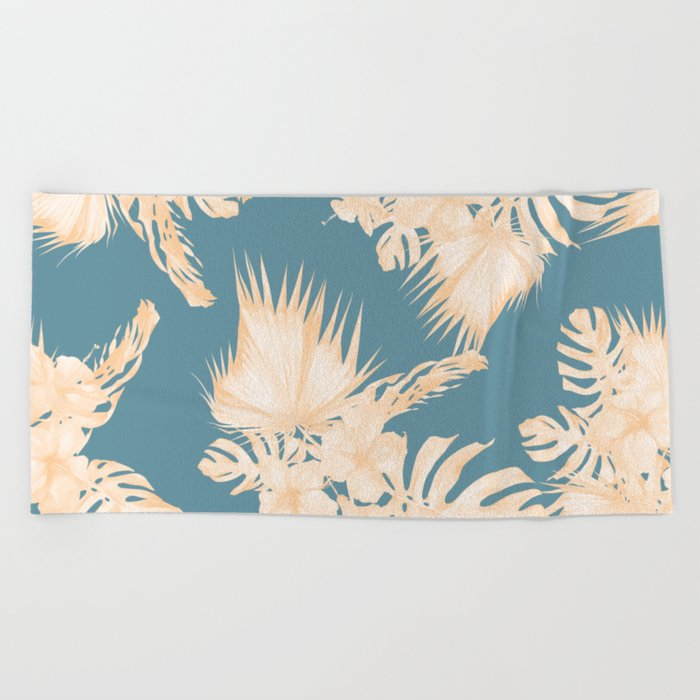 Island Vacation Hibiscus Palm Coral Teal Blue Beach Towel