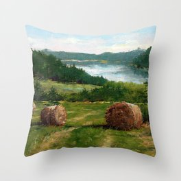 Hay Bale View of Shelburne Pond Throw Pillow