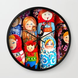 Culture. Group of matrioska, or babushka, symbol of maternity from Russia. Wall Clock