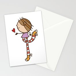 Girl with long legs and a love heart Stationery Cards