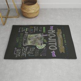 Classic Mojito Recipe Chalkboard art Rug