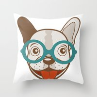 frenchie Throw Pillows featuring Frenchie by olillia