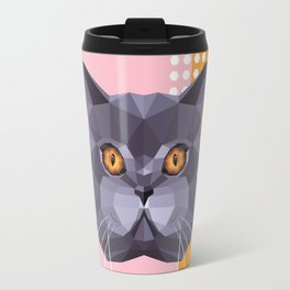 British Shorthair on a Memphis style Travel Mug