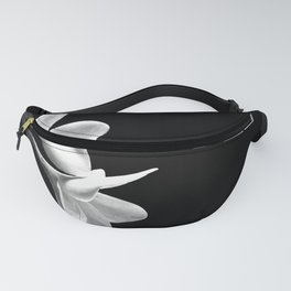White Flowers Black Background Fanny Pack
