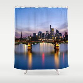 Famous Flößerbrücke Main River Romantic Evening Red Nightlife Frankfurt Hessen Germany Ultra HD Shower Curtain