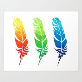 Rainbow Feathers Art Print
