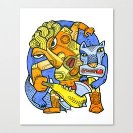 Fight with a wolf Canvas Print