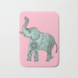 Elephant doodle in mint and pink. Bath Mat