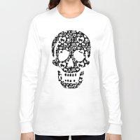 roller derby Long Sleeve T-shirts featuring Roller derby Skull Print by Mean Streak