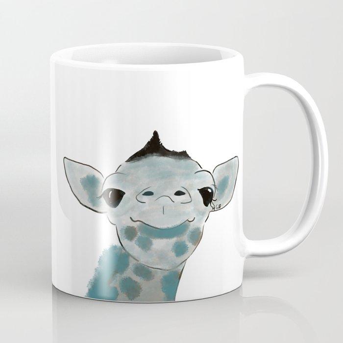 Happy Baby Giraffe // Giraffe In Watercolor Blue and Gray Coffee Mug