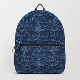 Damask motif sashiko stitch pattern. Backpack