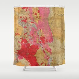 Vintage Geological Map of Colorado (1879) Shower Curtain