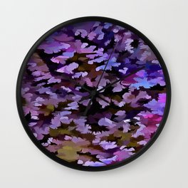 Foliage Abstract In Blue, Pink and Sienna Wall Clock