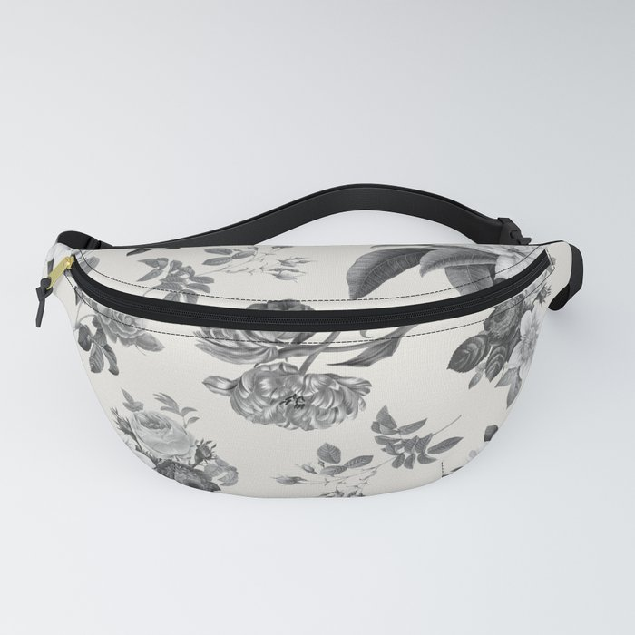 Vintage flowers on cream blackground Fanny Pack