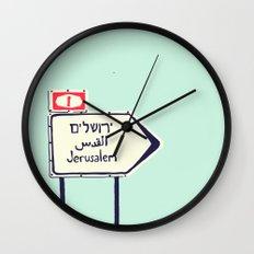 Jerusalem This Way Wall Clock