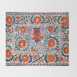 Shakhrisyabz Suzani Uzbekistan Antique Embroidery Print Throw Blanket
