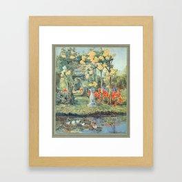 flower garden watercolour Framed Art Print