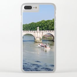 Tourist boat passes under Ponte Sant'Angelo in Rome - Italy Clear iPhone Case