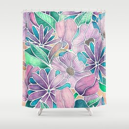 Blossoming - lilac, mint & aqua  Shower Curtain
