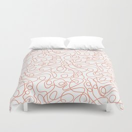 Doodle Line Art | Coral Lines on White Background Duvet Cover
