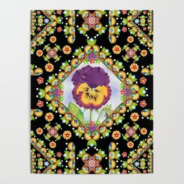 Purple Pansy Portrait Poster
