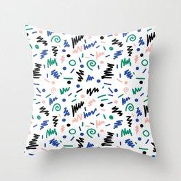 Lainie - 80s, 90s, revival, memphis, design, bright, print, grid, black and white Throw Pillow
