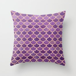 Mermaid Scales Pattern in Purple and Rose Gold Throw Pillow