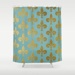 Aqua and Gold Fleur De Lis Shower Curtain