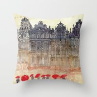 takmaj Throw Pillows featuring Brussels by takmaj