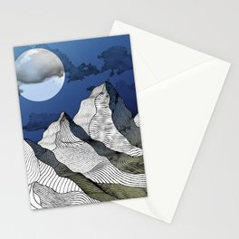 Woodcut Mountains - Night Stationery Cards
