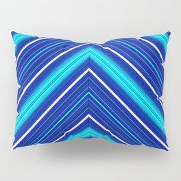Morn Diagonal Chevron Sripes Shades of Blue Pillow Sham