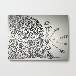Buddha Blossoms Ink Doodle Metal Print