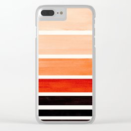 Burnt Sienna Minimalist Mid Century Modern Color Fields Ombre Watercolor Staggered Squares Clear iPhone Case