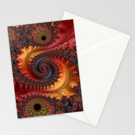 Feathery Flow - Red Fractal Art Stationery Cards