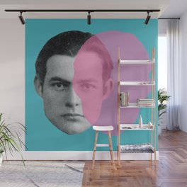 Hemingway - portrait pink and blue Wall Mural