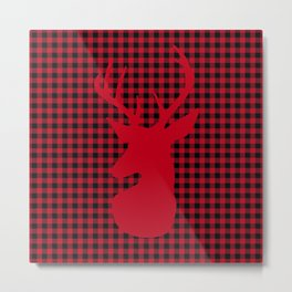 Red Plaid Deer Stag Design Metal Print
