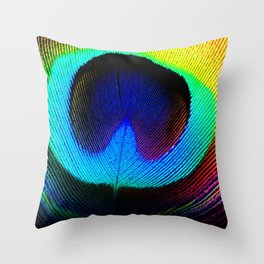 Colorfull Feather Peacock Throw Pillow