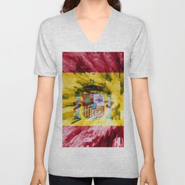 Extruded Flag of Spain Unisex V-Neck