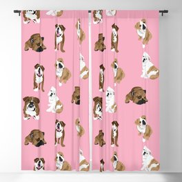 Bulldogs on pink Blackout Curtain