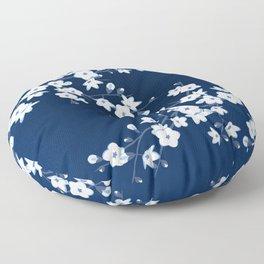 Navy Blue White Cherry Blossoms Floor Pillow
