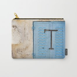 Vibrant Blue Window in Stone Wall Carry-All Pouch