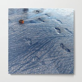 Footprints at the Beach Metal Print
