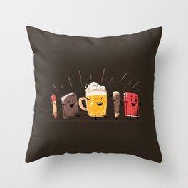 Back To School Beer Throw Pillow