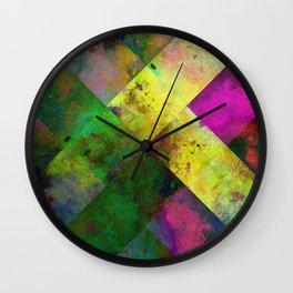Dark Diamonds - Textured, patterned painting Wall Clock