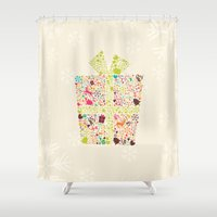 gift card Shower Curtains featuring Christmas Gift 02 by BlueLela