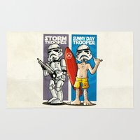 storm trooper Area & Throw Rugs featuring Storm and Sunny Day Trooper by neicosta