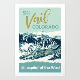 Vail Ski Light Blue Art Print