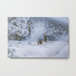 Deer in Frost Metal Print