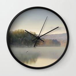Misty Lake Sunrise Wall Clock