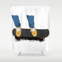 skate Shower Curtains featuring skate by the lazy pigeon